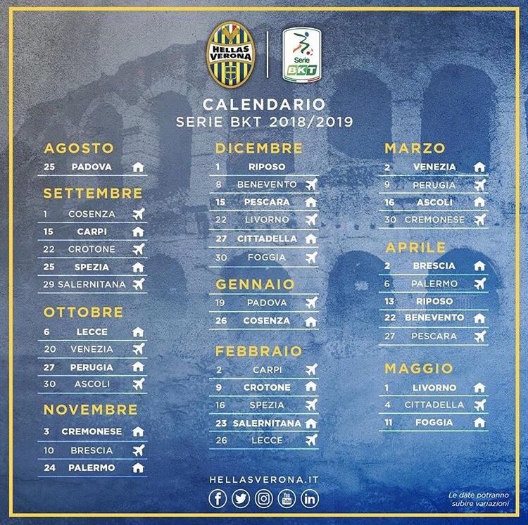 Serie A Calendario Oggi.Serie B 2018 2019 Il Calendario Verona News